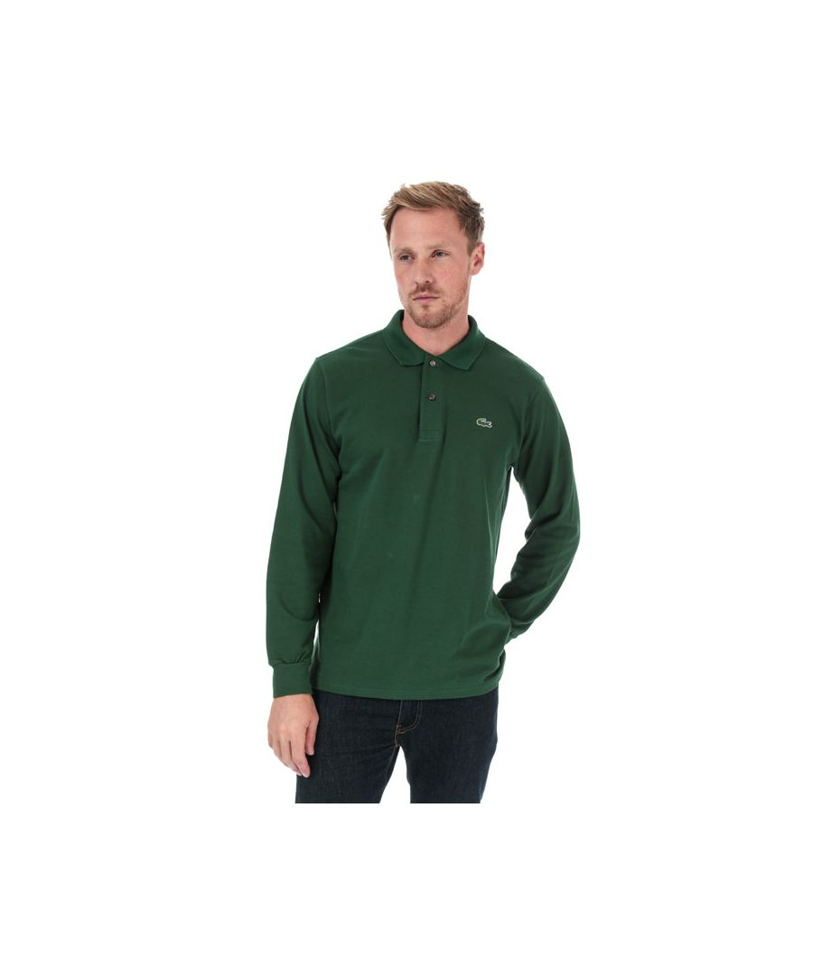 Image for Men's Lacoste Classic Fit Long Sleeve Polo Shirt in Green
