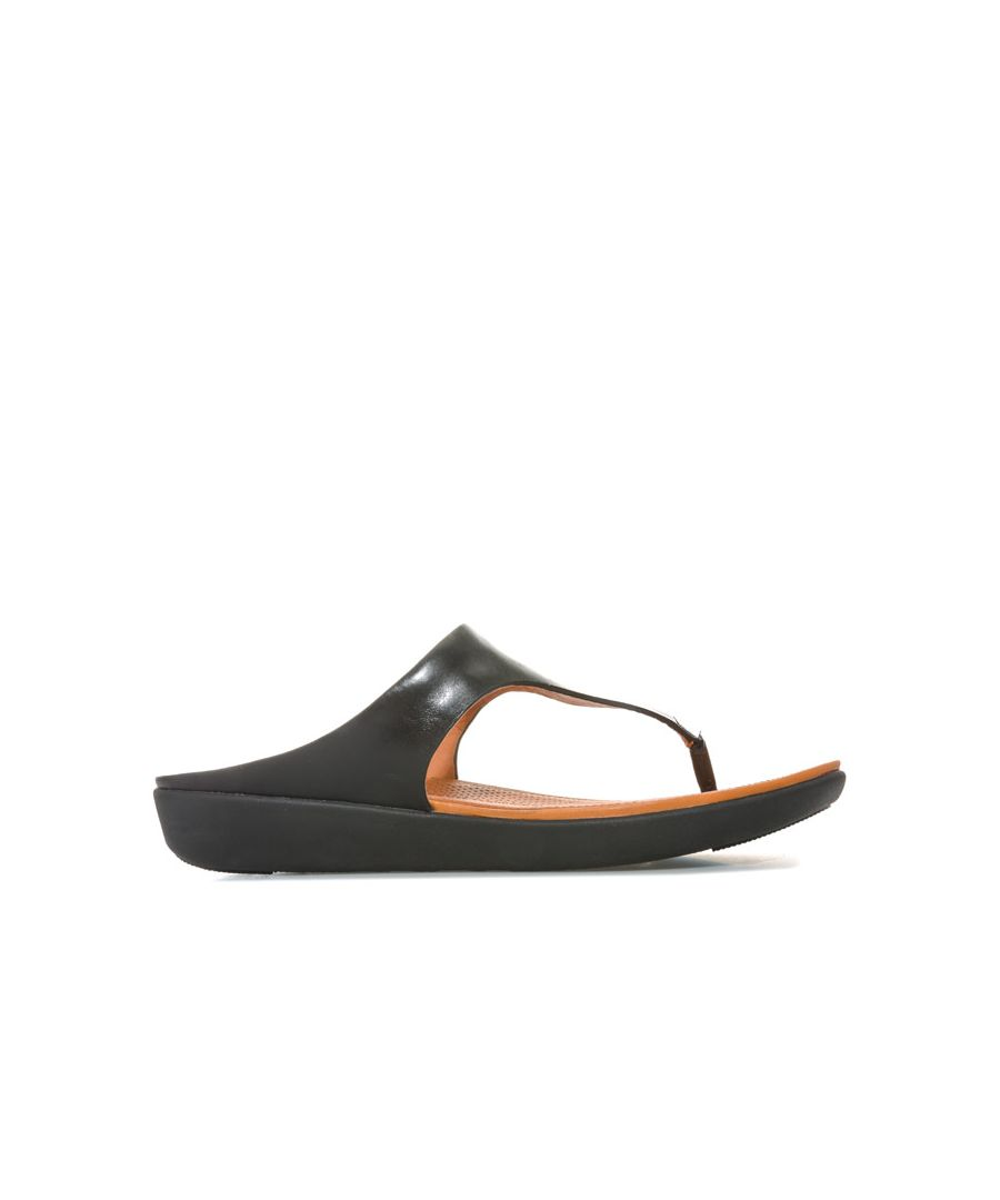 Image for Women's Fit Flop Banda II Leather Toe Thong Sandals in Black