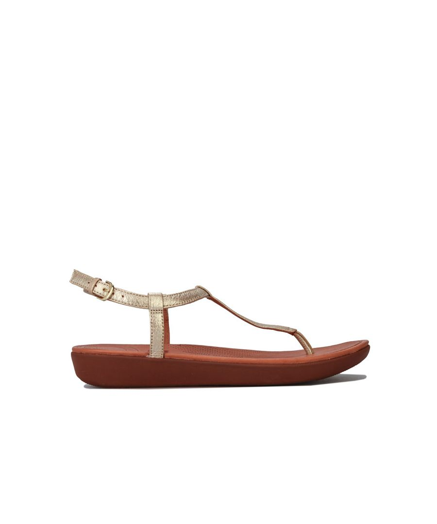 Image for Women's Fit Flop Tia Leather Toe Thong Sandals in Gold