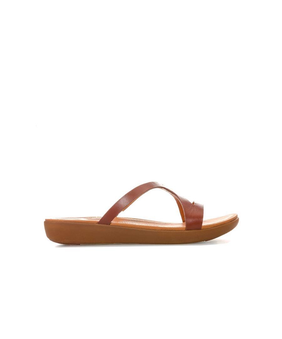 Image for Women's Fit Flop Strata Leather Slide Sandals in Cognac