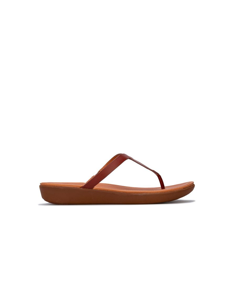 Image for Women's Fit Flop Strata Leather Toe Thong Sandals in Cognac