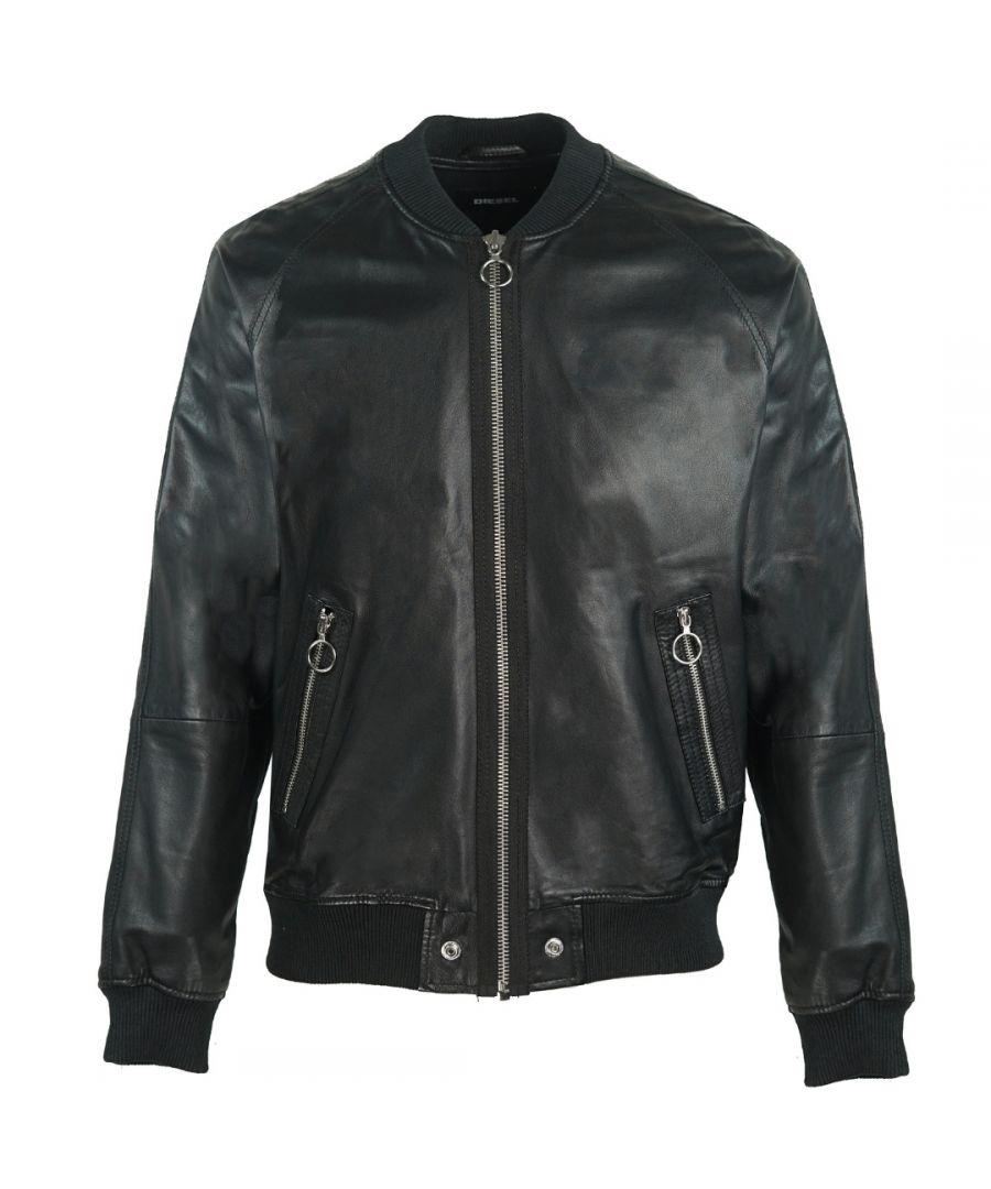 Image for Diesel L-Pins Black Leather Bomber Jacket