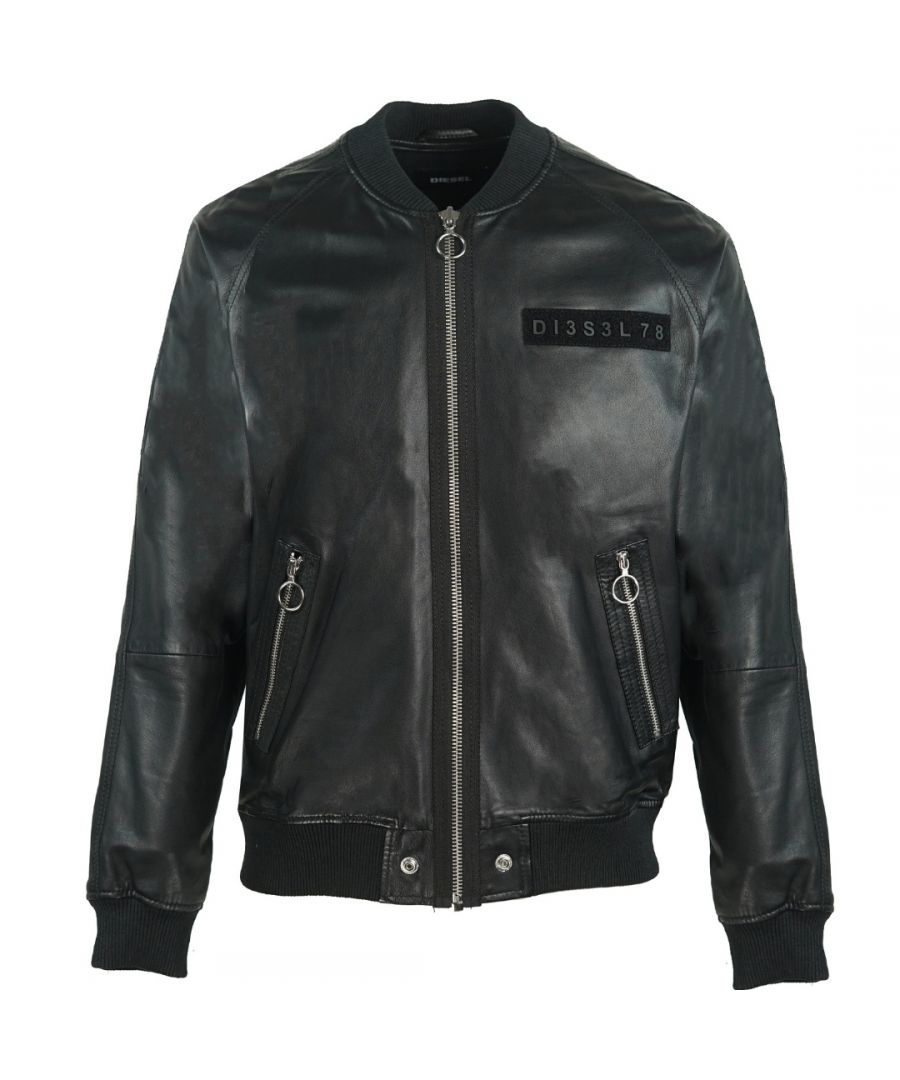 Image for Diesel L-Pins-A Black Leather Bomber Jacket