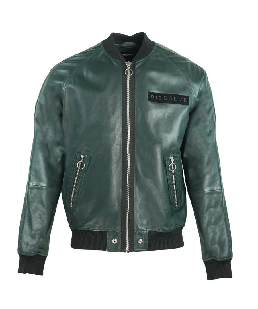 Image for Diesel L-Pins-A Green Leather Bomber Jacket