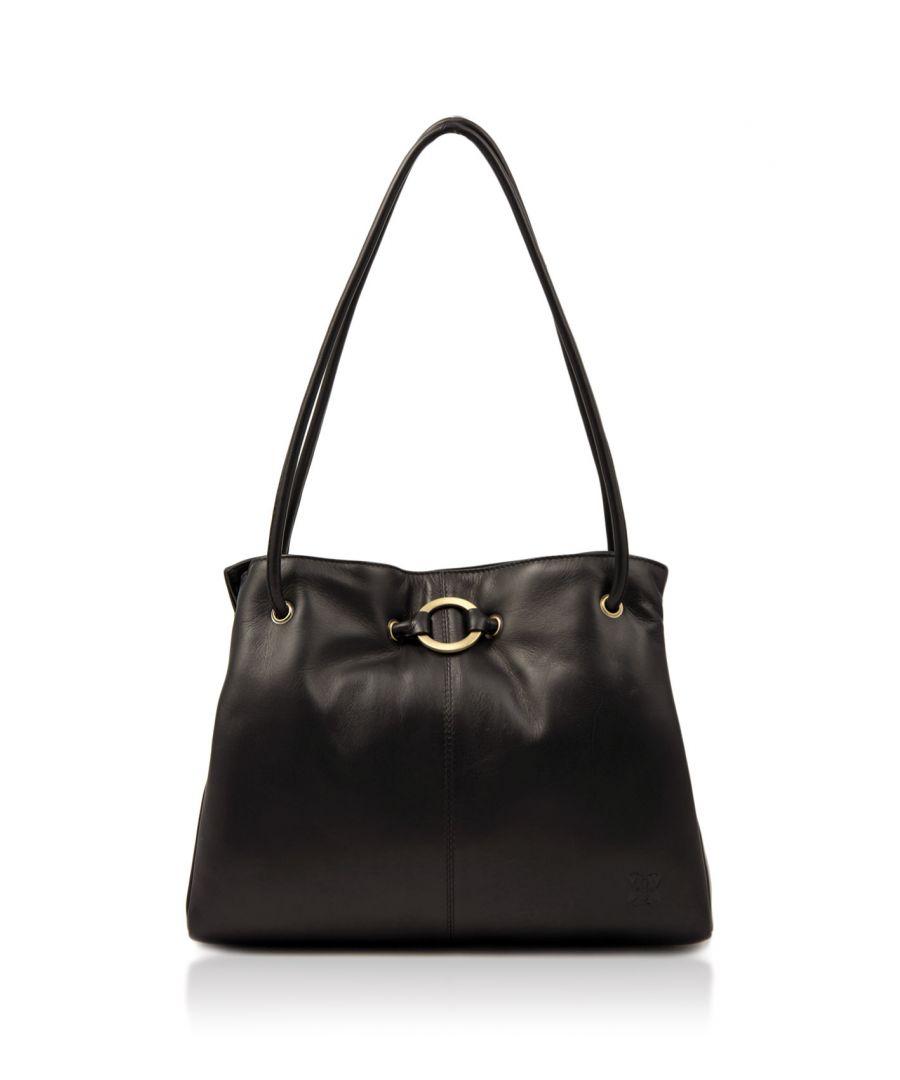 Image for Ring Detail Leather Shoulder Bag in Black