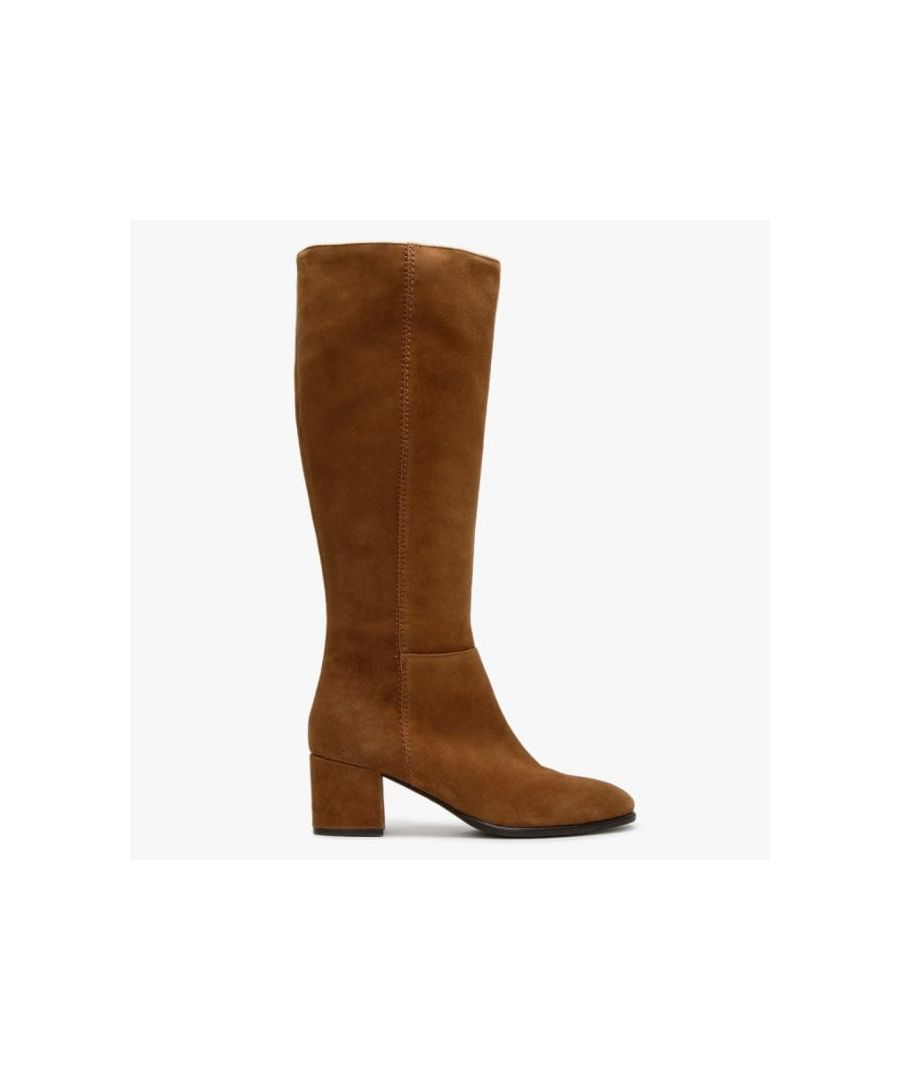 Image for Lamica Suede Low Block Heel Knee Boots