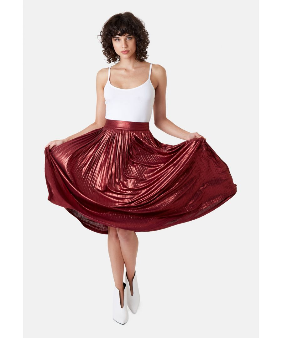 Image for Metallic Midi Falls Skirt in Rust