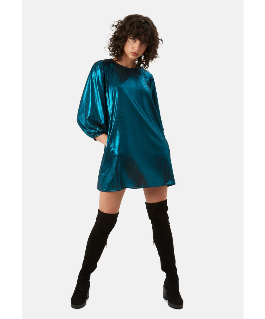 Image for Metallic Long Sleeve Please Me Mini Dress in Blue