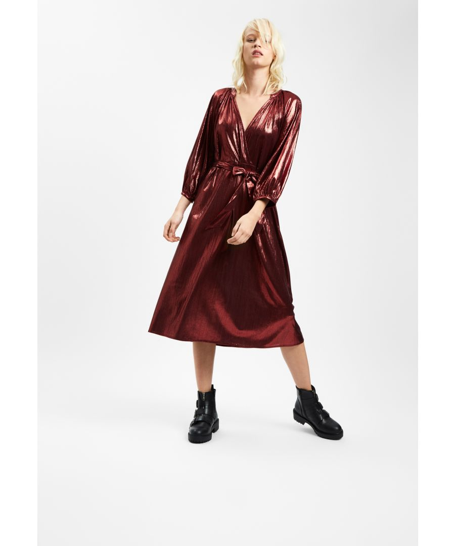 Image for Metallic Belt Up Midi Dress in Wine