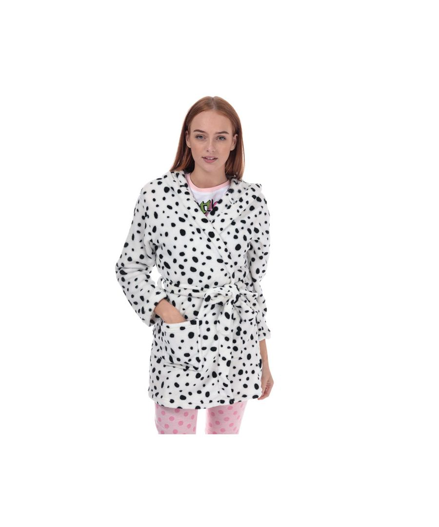Image for Women's Brave Soul Dalmatian Print Dressing Gown in White Black