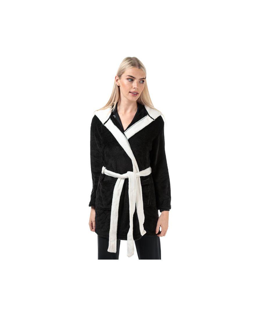 Image for Women's Brave Soul Panda Dressing Gown Black-White 10in Black-White