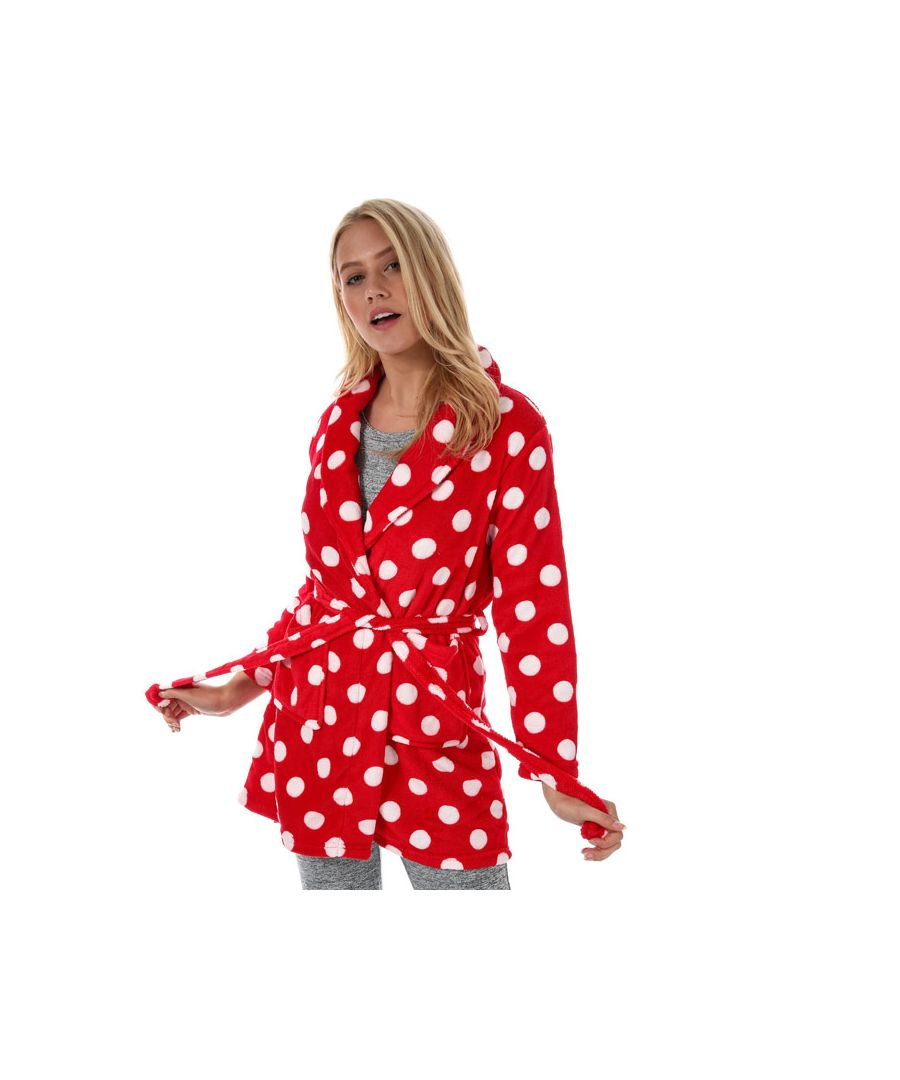 Image for Women's Brave Soul Polka Dot Dressing Gown in red white