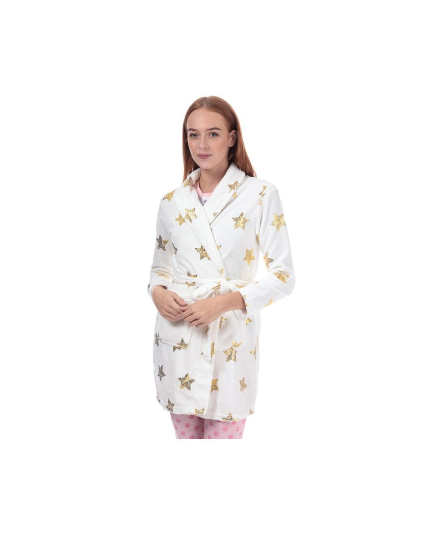 Image for Women's Brave Soul Sequin Star Print Dressing Gown in White gold