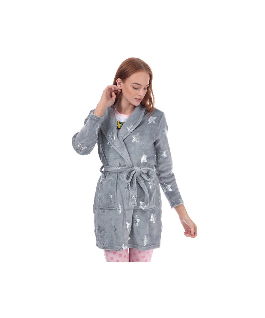 Image for Women's Brave Soul Sequin Star Print Dressing Gown in Grey