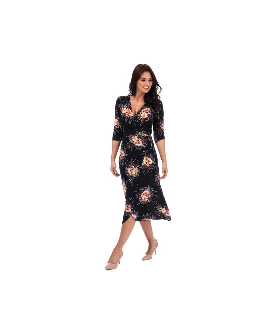 Image for Women's Brave Soul Floral Wrap Midi Dress in Black