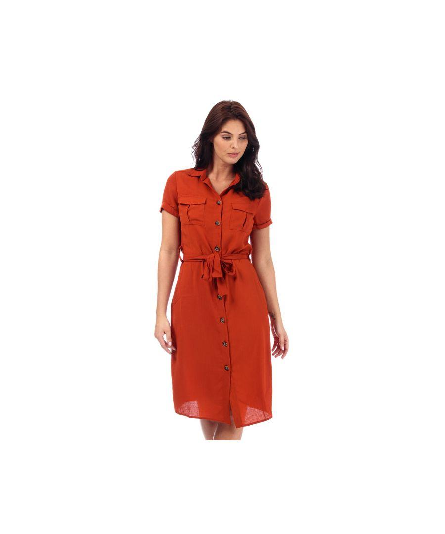 Image for Women's Brave Soul Short Sleeve Shirt Dress in Rust
