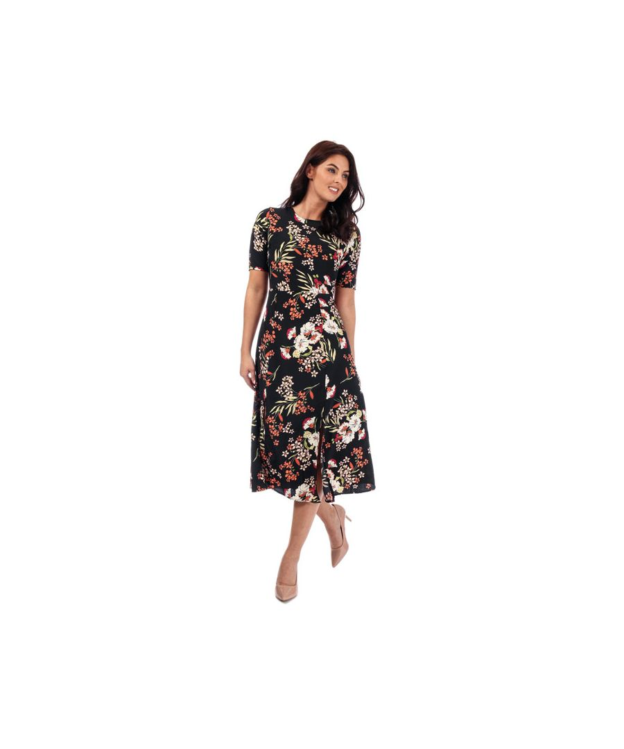 Image for Women's Brave Soul Floral Midi Dress in Black