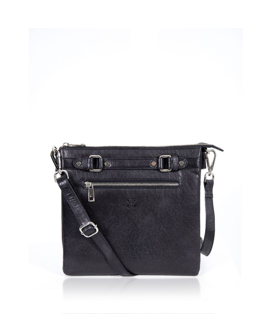 Image for Bowland Front Zip Leather Cross Body Bag in Black