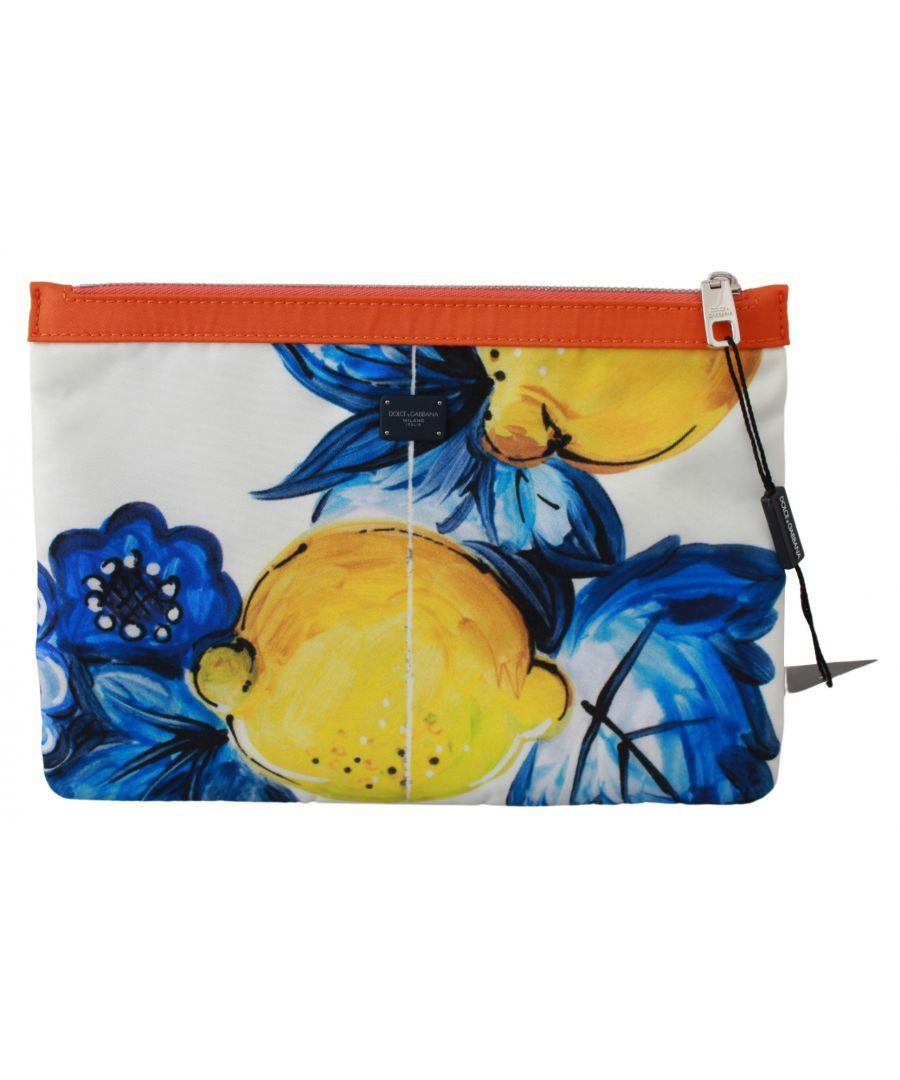 Image for Dolce & Gabbana Multicolor Lemon Print Hand Pouch Purse