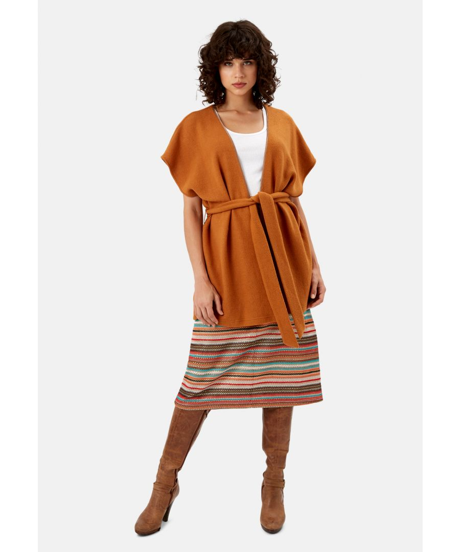 Image for Poncho Sleeveless Wrap Cardigan in Rust Brown