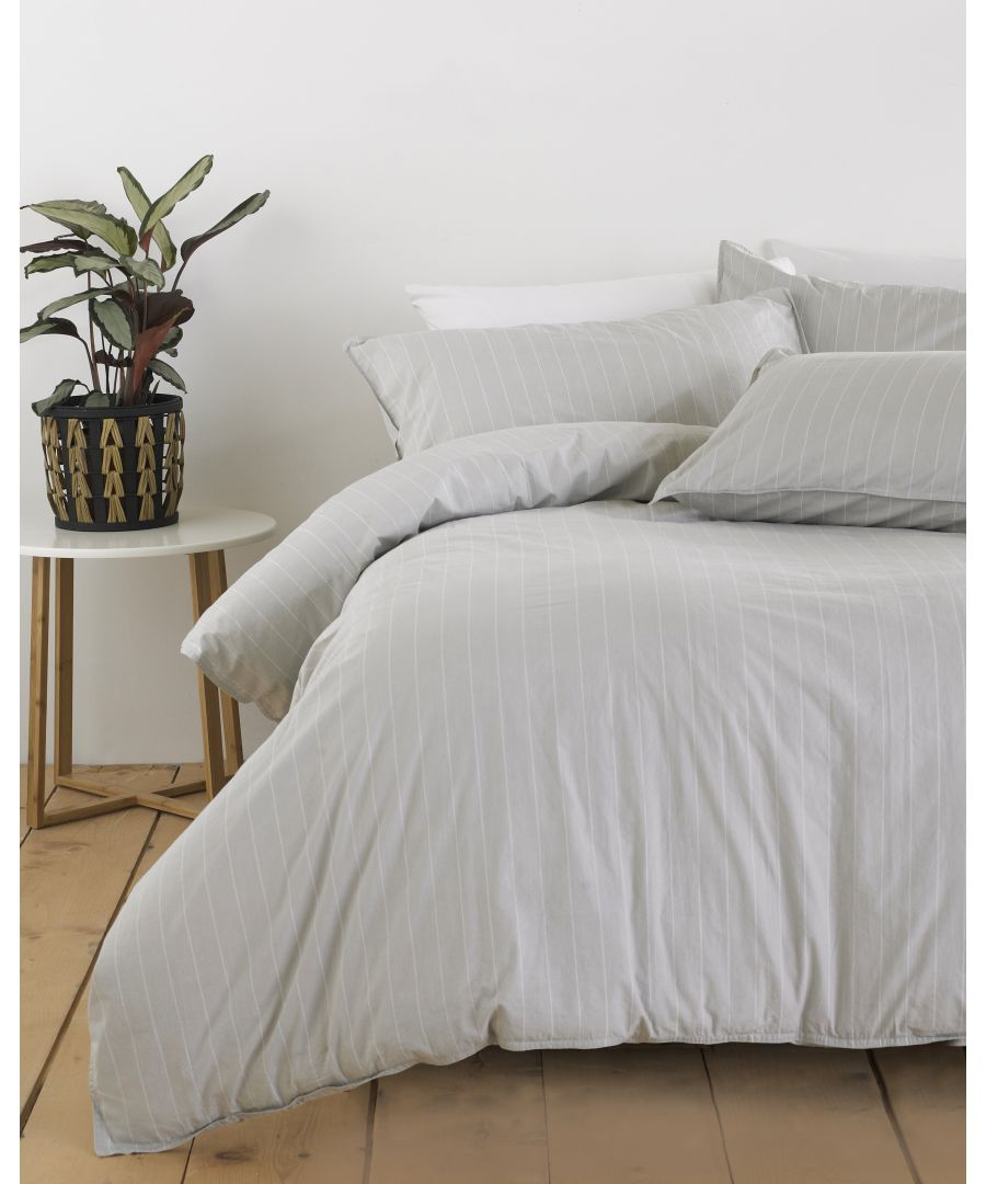 Image for Linear Duvet Set Grey/White