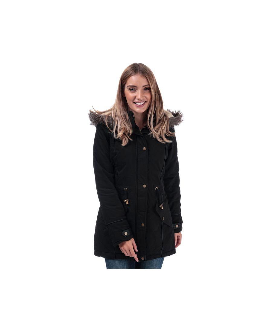 Image for Women's Brave Soul Allure Padded Parka Jacket in Black