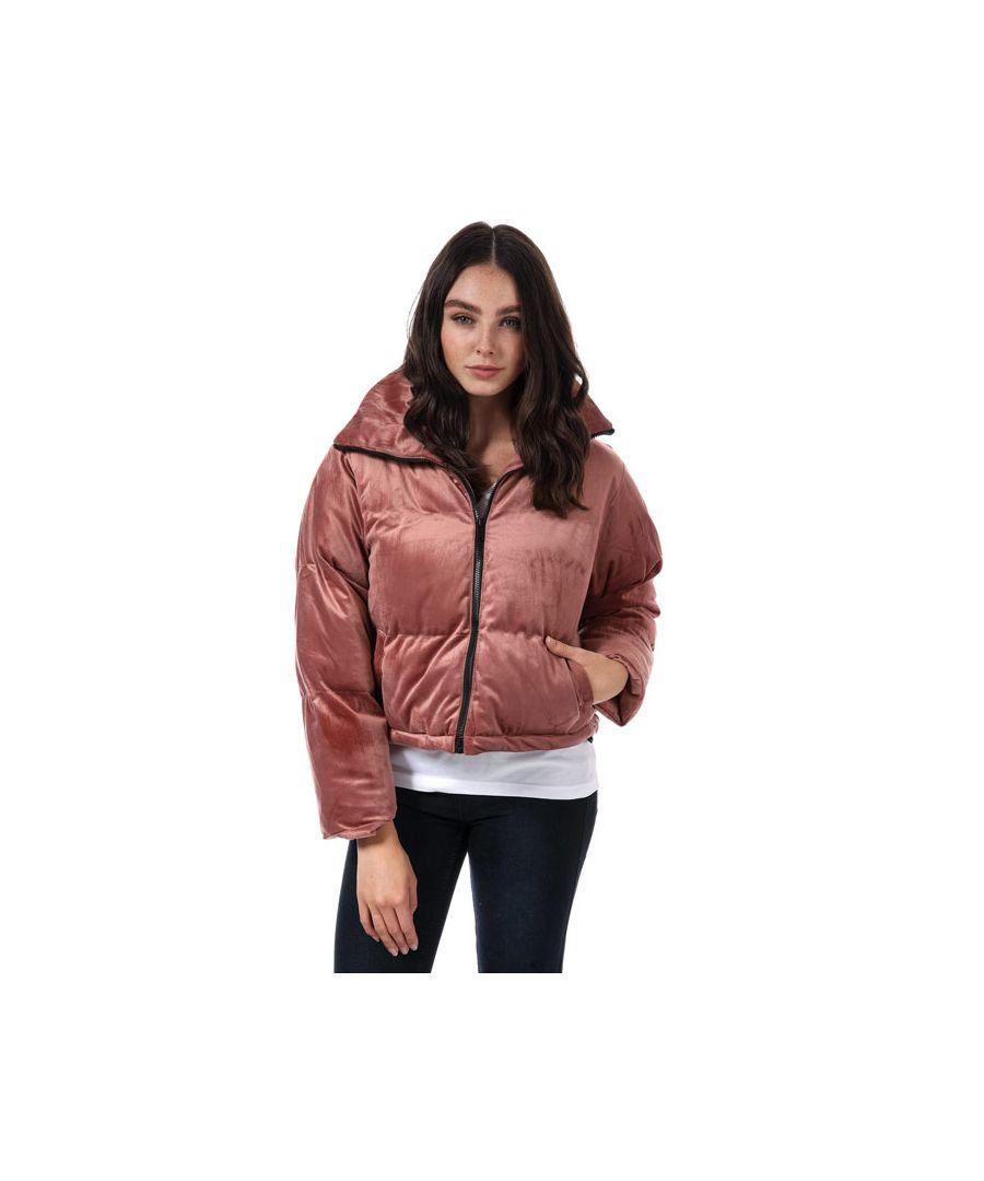 Image for Women's Brave Soul Velvet Cropped Padded Jacket in Dusky Pink