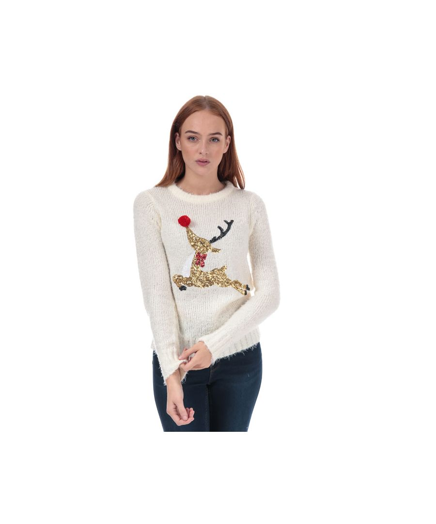Image for Women's Brave Soul Sequin Reindeer Christmas Jumper in Cream
