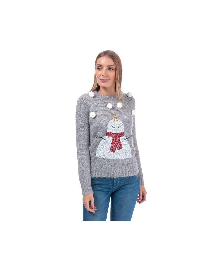Image for Women's Brave Soul Snowman Christmas Jumper in Light Grey