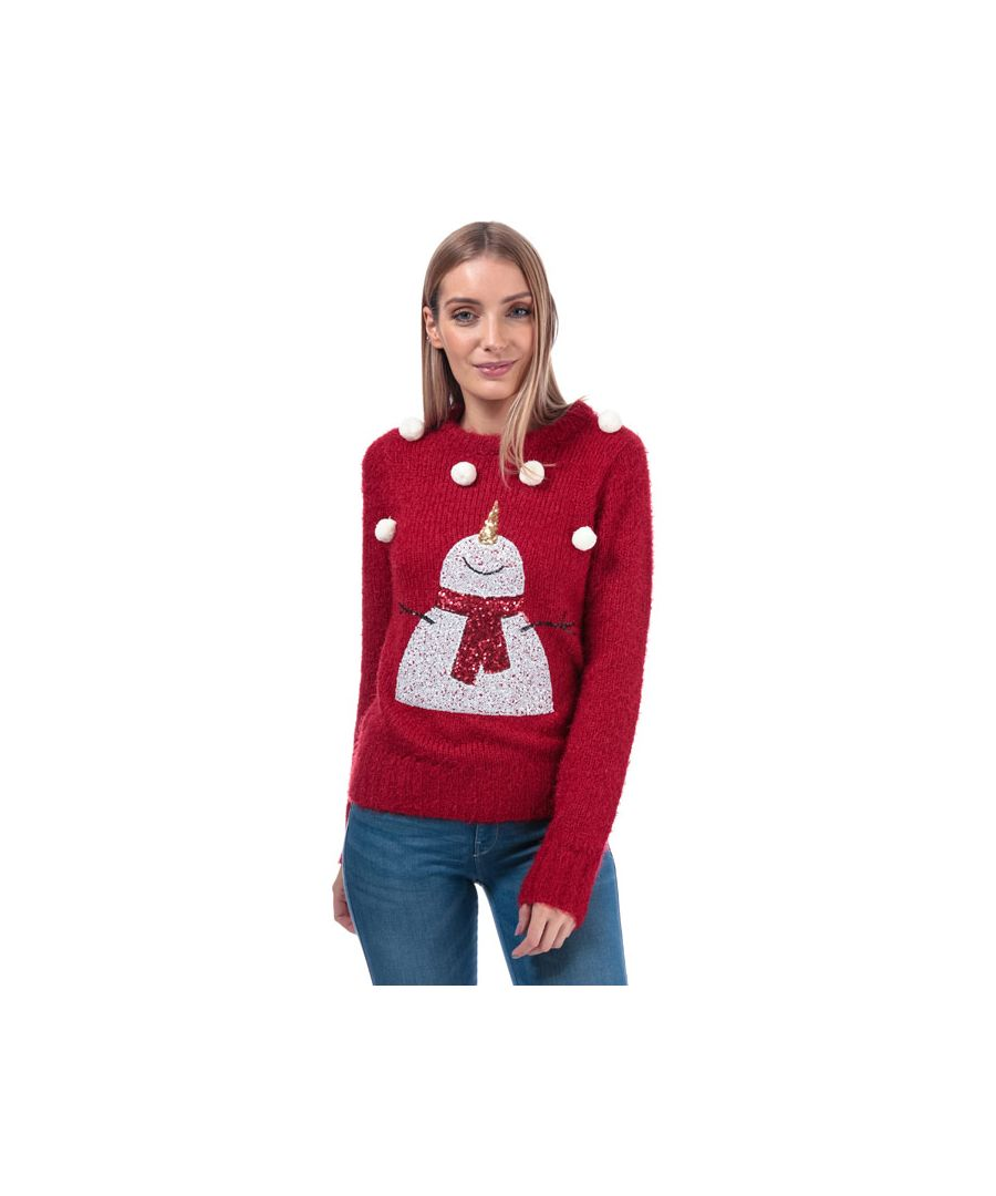 Image for Women's Brave Soul Sequin Snowman Christmas Jumper in Red