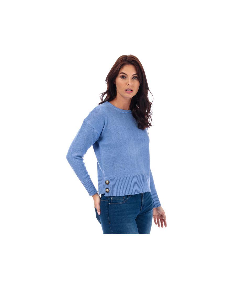 Image for Women's Brave Soul Button Hem Crew Neck Jumper in Blue