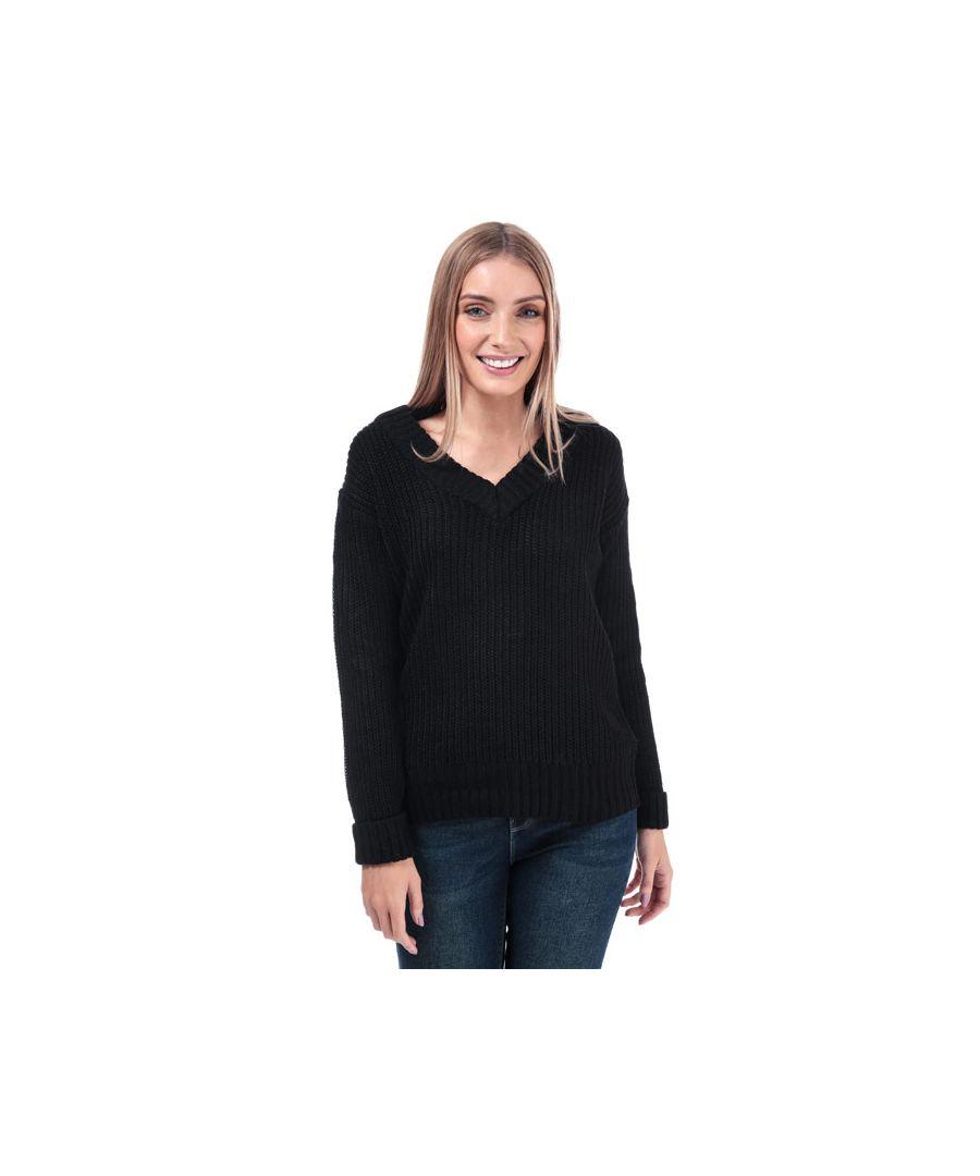 Image for Women's Brave Soul Chunky V-Neck Jumper in Black