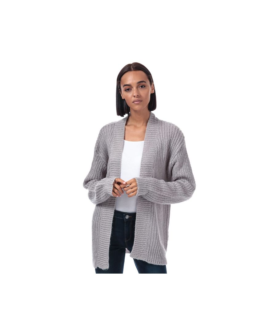 Image for Women's Brave Soul Rib Cardigan in Light Grey