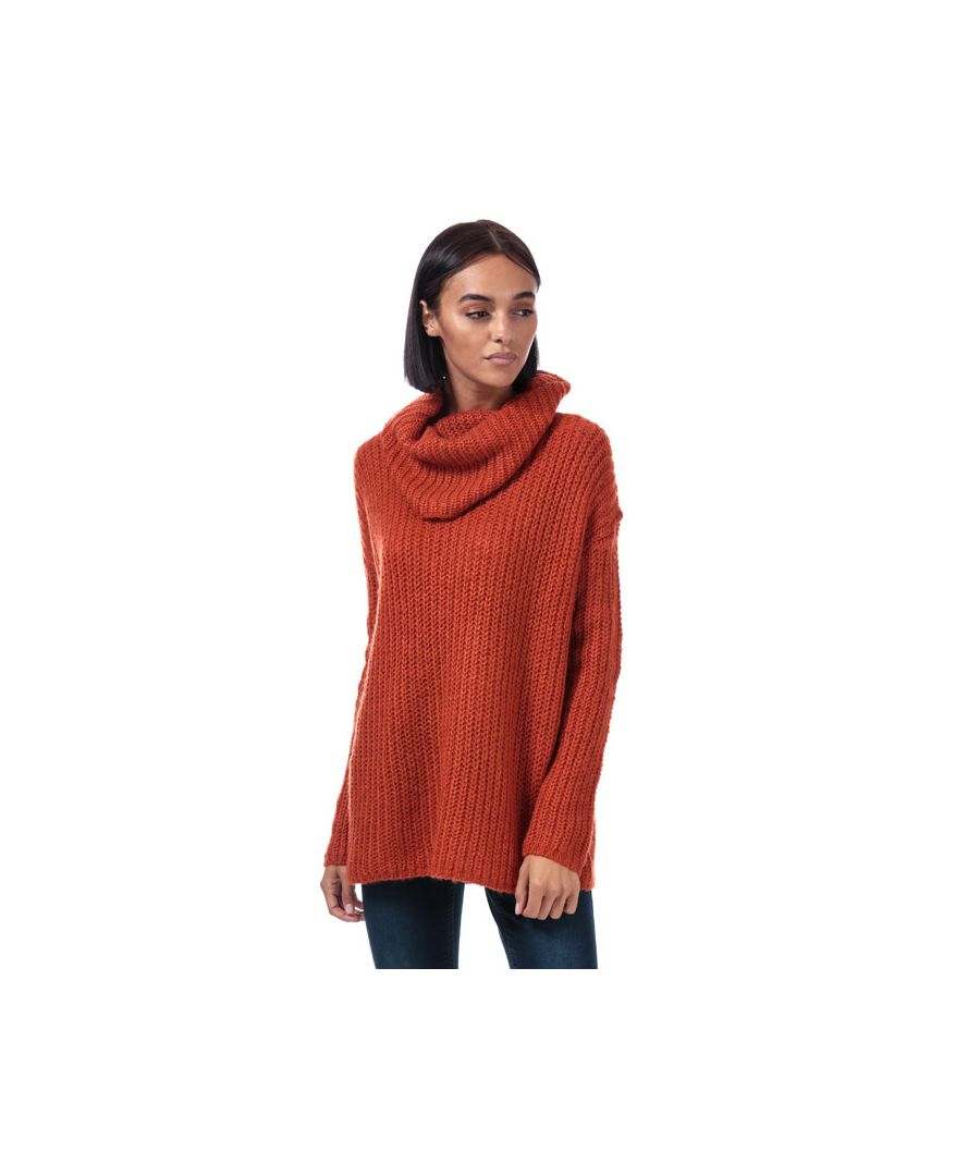Image for Women's Brave Soul Oversize Cowl Neck Jumper in Rust
