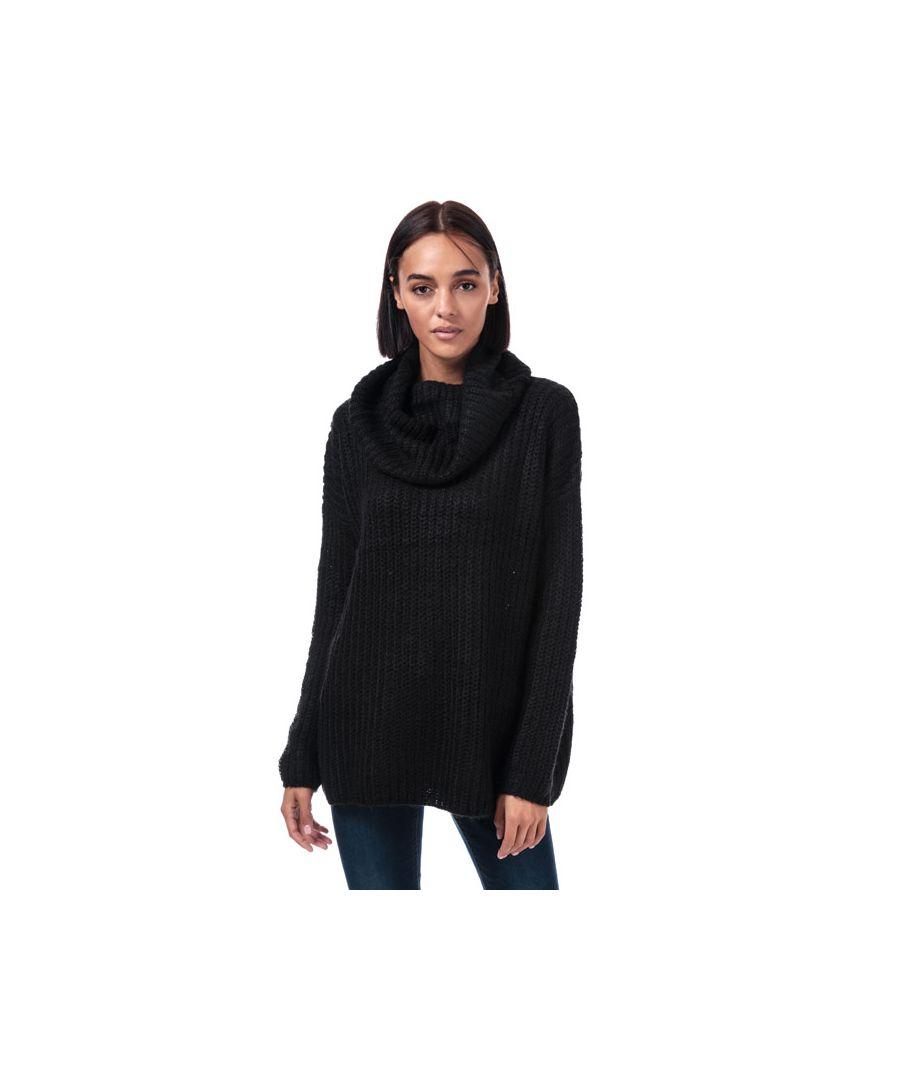 Image for Women's Brave Soul Oversize Cowl Neck Jumper in Black