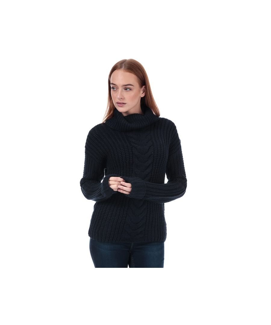 Image for Women's Brave Soul Roll Neck Cable Jumper in Navy