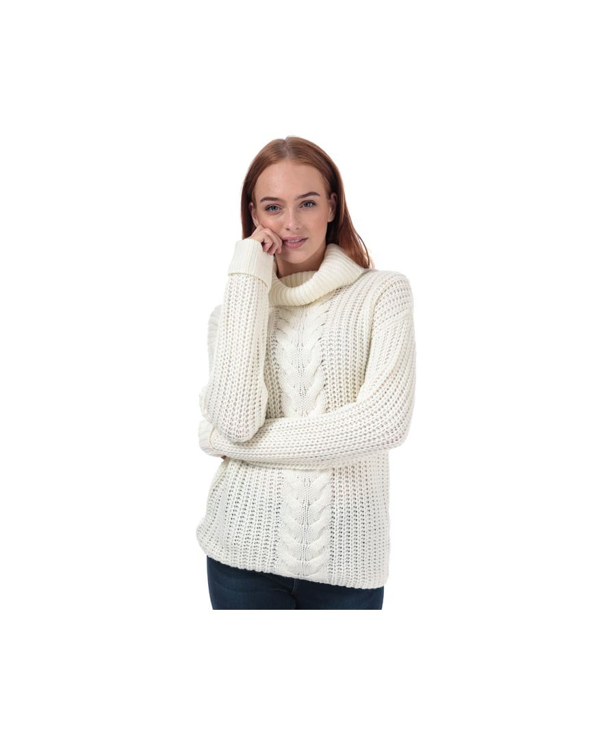 Image for Women's Brave Soul Roll Neck Cable Jumper in Ivory
