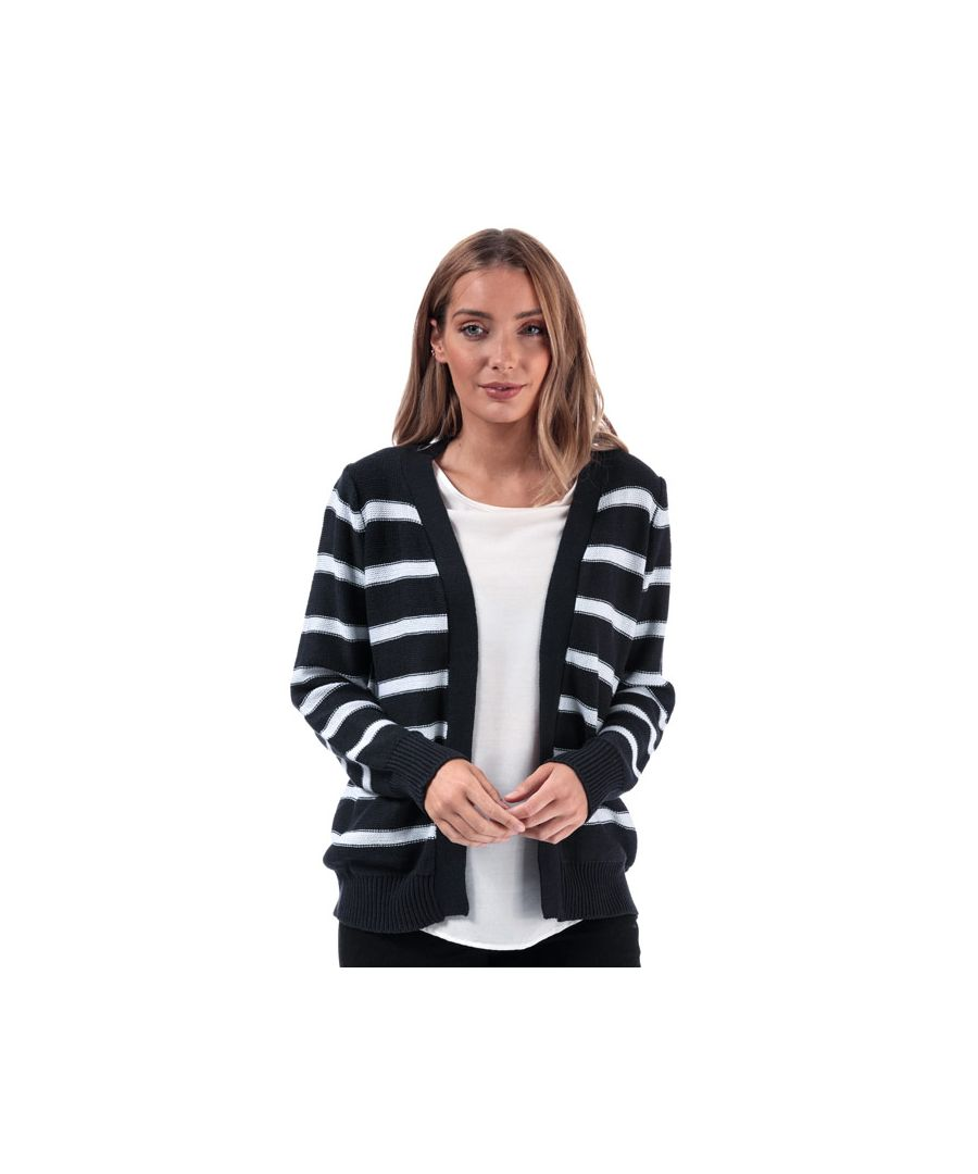 Image for Women's Brave Soul Stripe Cardigan in Navy-White