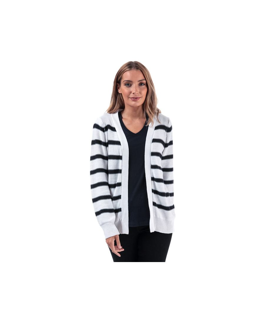 Image for Women's Brave Soul Stripe Cardigan in White Navy