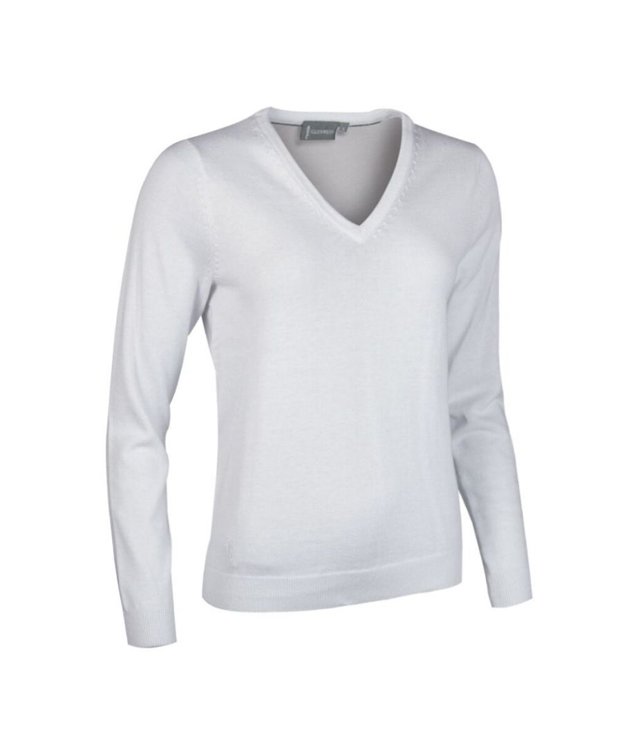 Image for White V Neck Jumper