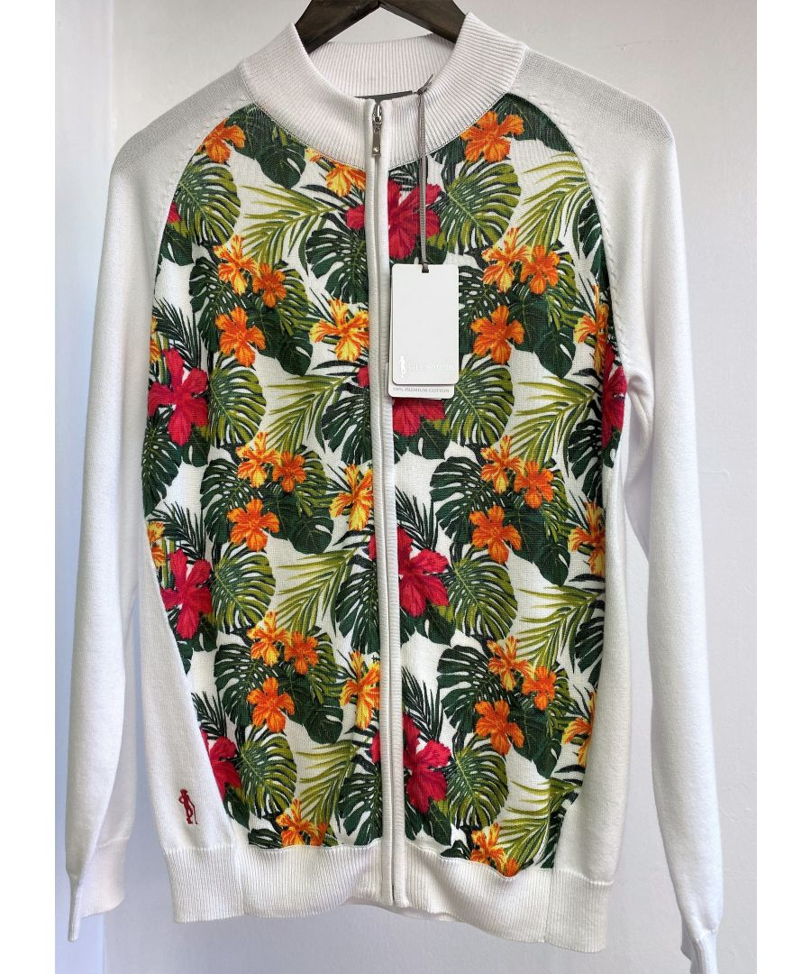Image for White/Daiquiri Zip Up Pattern Cardigan