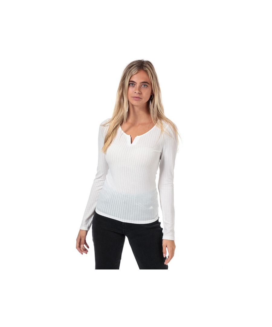 Image for Women's Brave Soul Rib Long Sleeve Top Off White 10in Off White