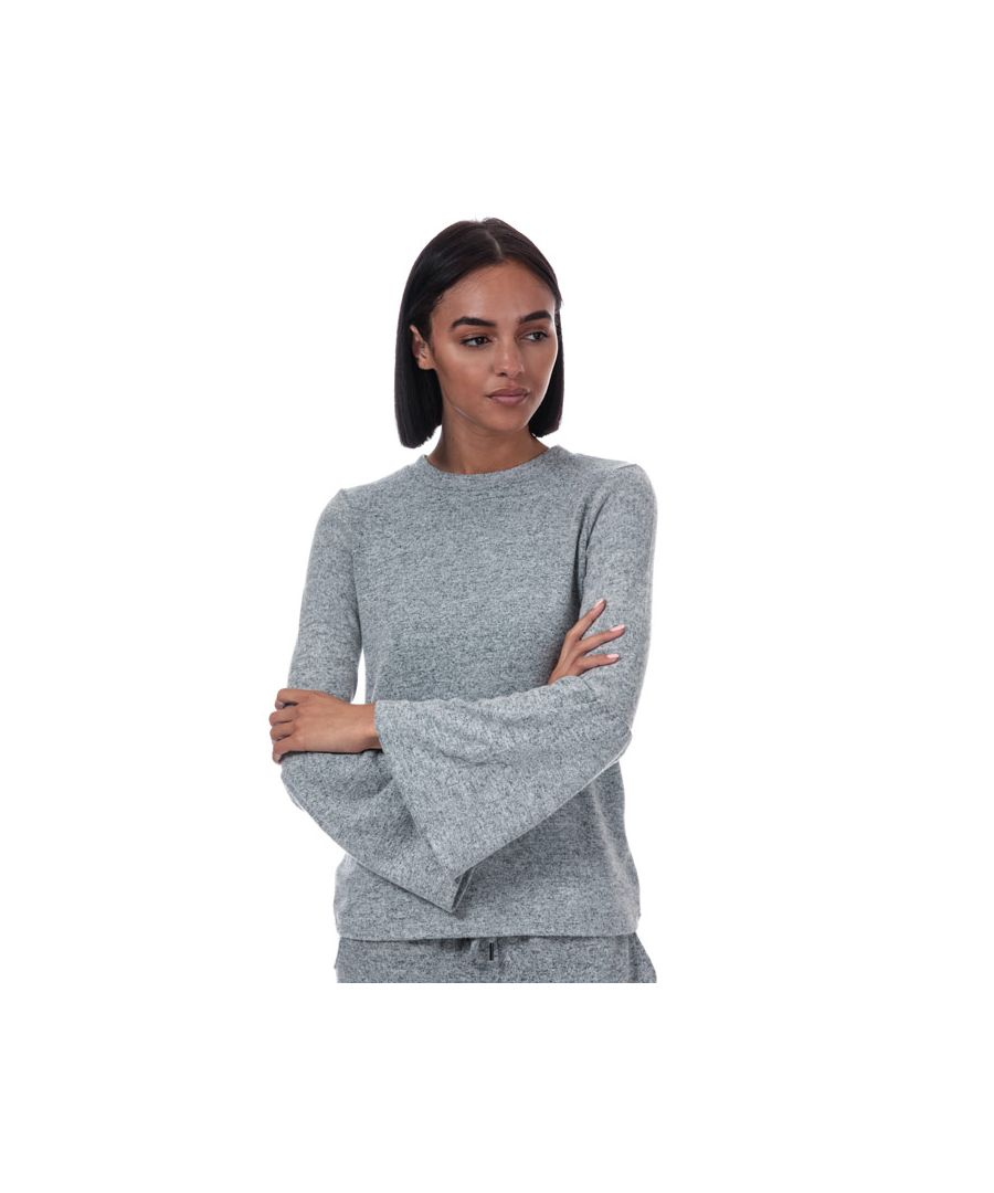 Image for Women's Brave Soul Brushed Fluted Sleeve Top in Grey Marl