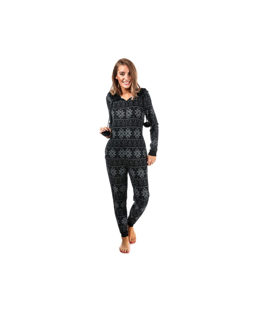 Image for Women's Brave Soul Snowflake Print Onesie Black 10in Black