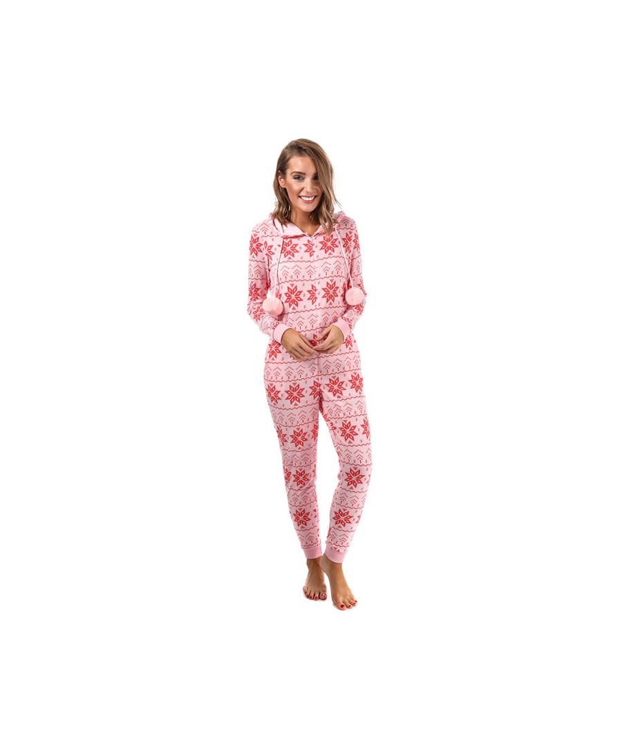 Image for Women's Brave Soul Snowflake Print Onesie in Pink