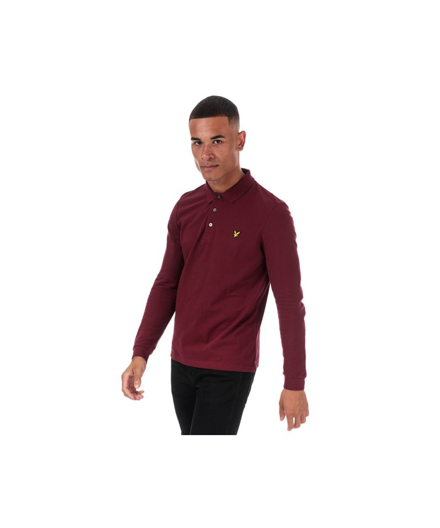 Image for Men's Lyle And Scott Long Sleeve Polo Shirt in Burgundy
