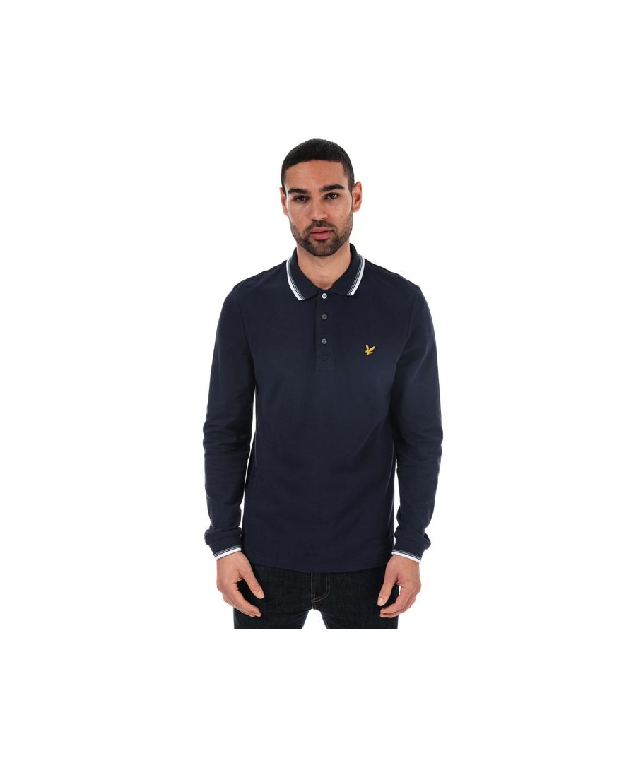 Image for Men's Lyle And Scott Long Sleeve Tipped Polo Shirt in Navy-White