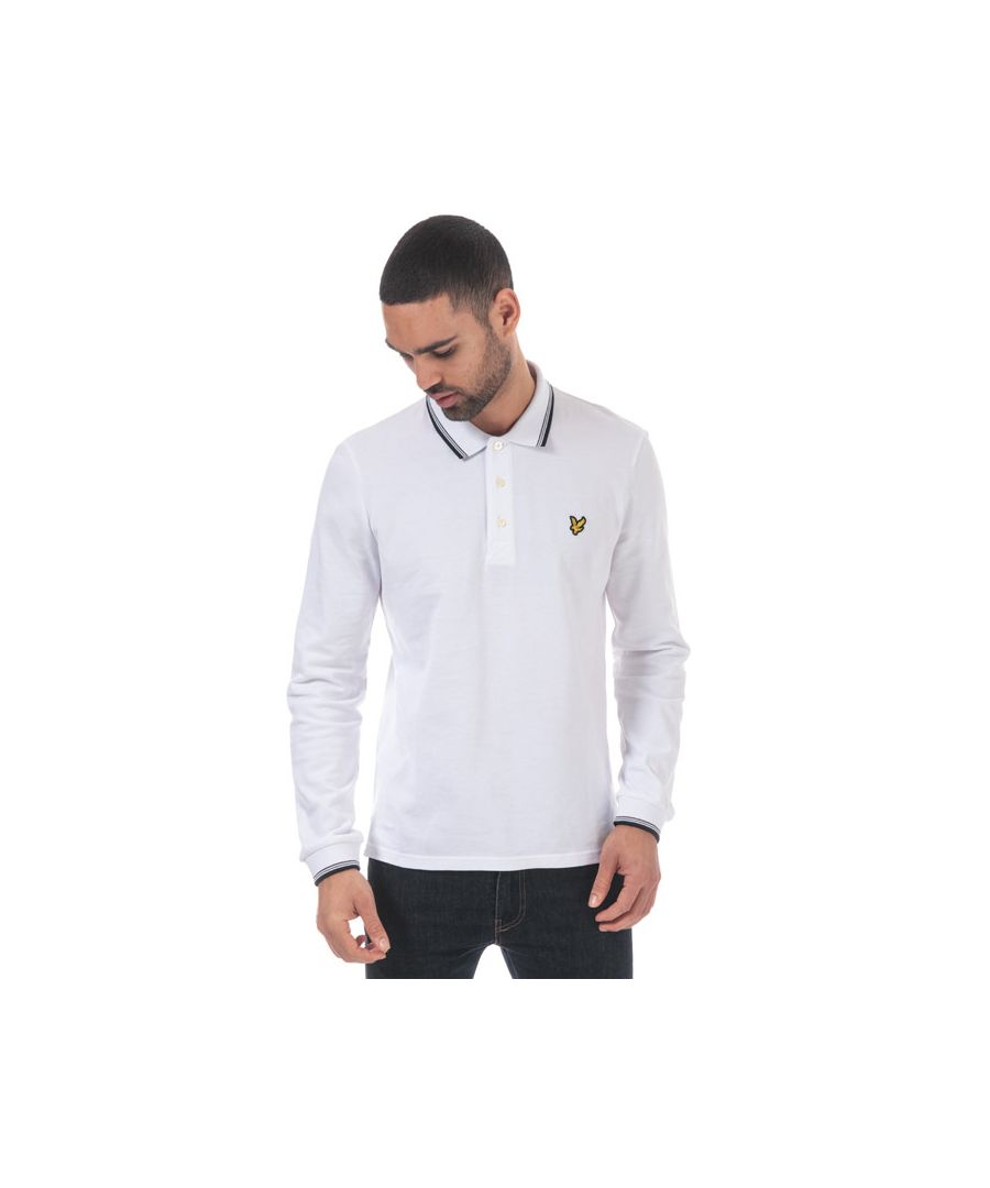 Image for Men's Lyle And Scott Long Sleeve Tipped Polo Shirt in White Navy