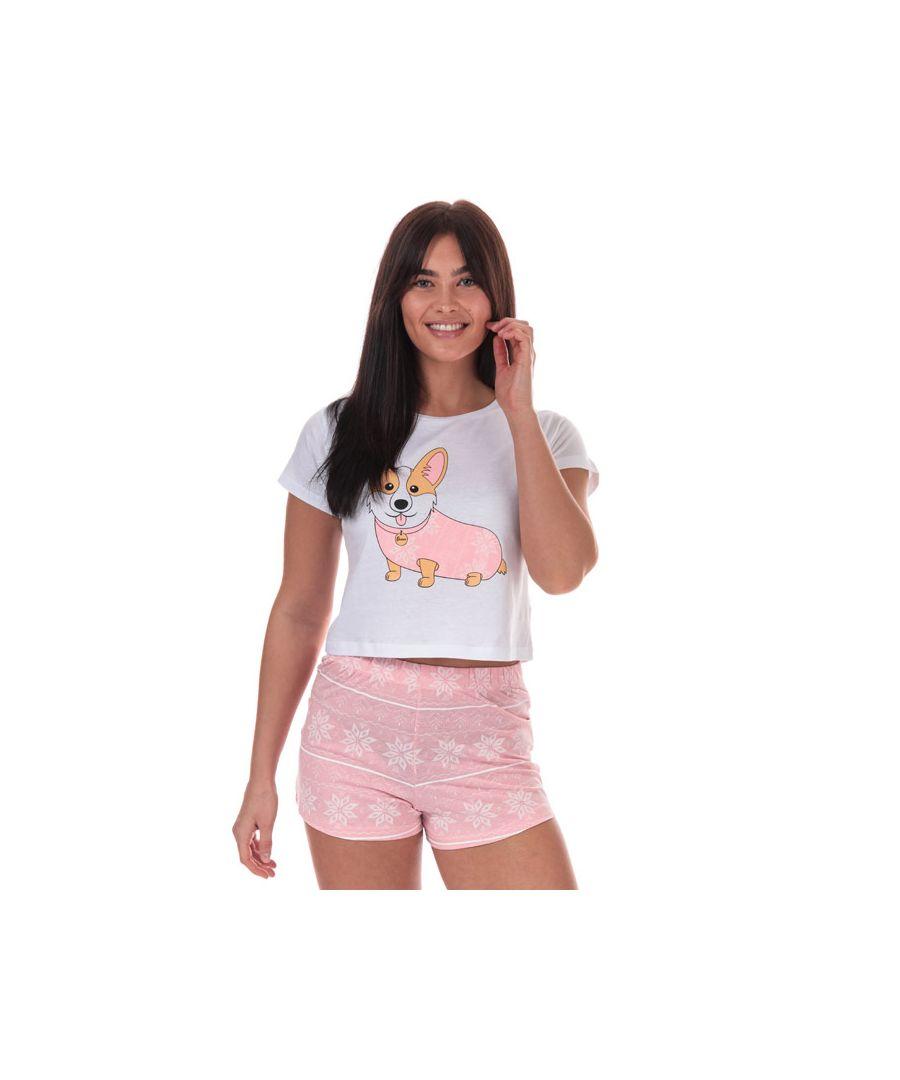 Image for Women's Brave Soul Corgi Short Pyjama Set in White pink