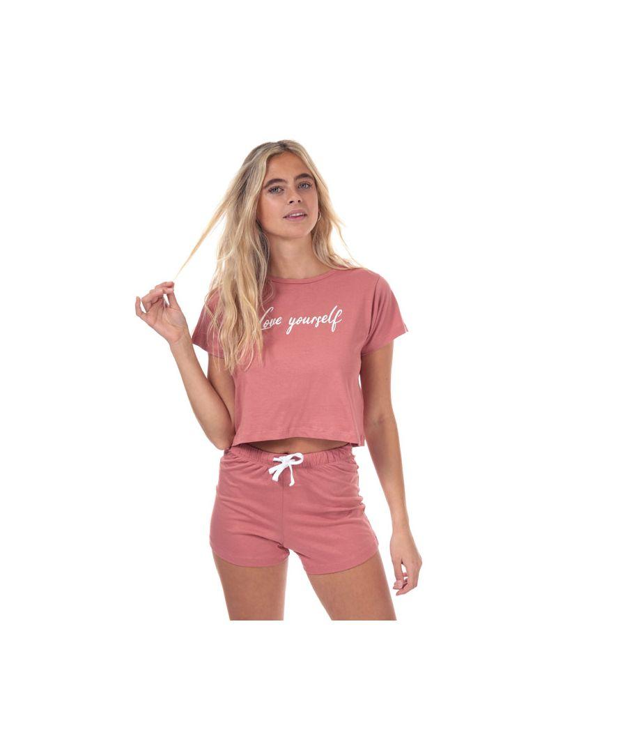Image for Women's Brave Soul Love Yourself Short Pyjama Set in Pink